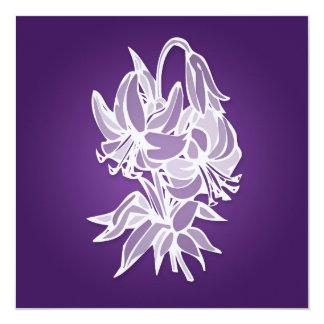 Purple Lily Bouquet Elegant Bridal Shower 13 Cm X 13 Cm Square Invitation Card