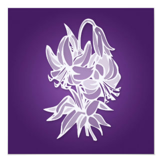 Purple Lily Bouquet Elegant Bridal Shower 5.25x5.25 Square Paper Invitation Card