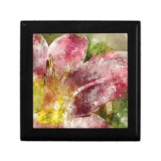 Purple Lily Close Up Small Square Gift Box