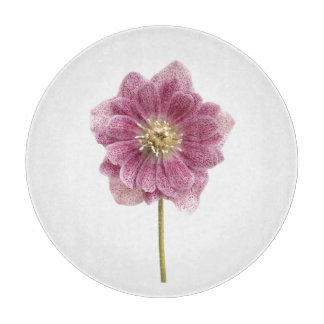 "Purple Lily Flower Glass Cutting Board 12"""