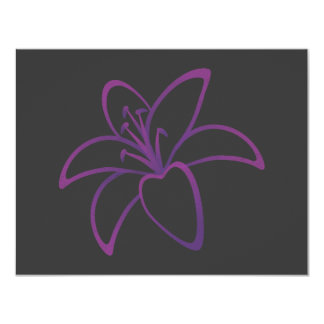 Purple Lily 4.25x5.5 Paper Invitation Card
