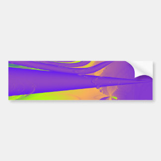 Purple Lime Green and Orange Fractal Design Bumper Sticker