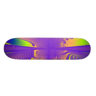 Purple, Lime Green and Orange Fractal Design. Skate Board