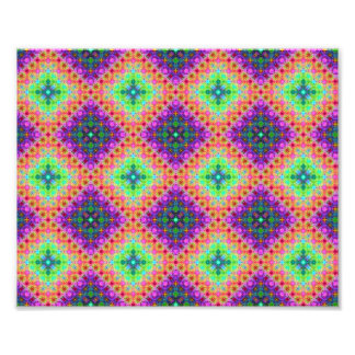 Purple & Lime Green Checkered Fractal Pattern Photo Print