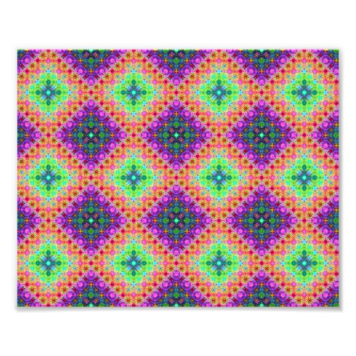 Purple & Lime Green Checkered Fractal Pattern Photo Print