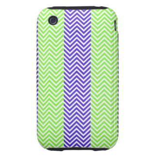Purple Lime Green Striped Chevron Summer Zig Zags Tough iPhone 3 Cover