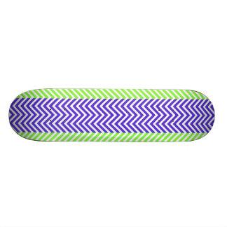 Purple Lime Green Striped Chevron Summer Zig Zags Skateboard Decks