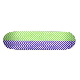 Purple Lime Green Striped Chevron Summer Zig Zags Skate Boards