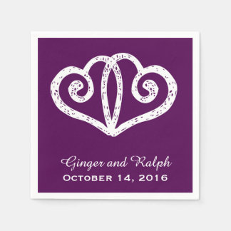Purple Linked Hearts Wedding Engagement Napkins Disposable Serviette