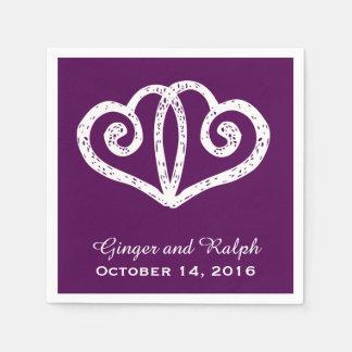 Purple Linked Hearts Wedding Engagement Napkins Paper Napkin
