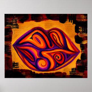 Purple Lips Pastel Acrylic Poster
