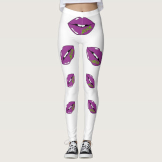 Purple lips with shoe laces  Leggings