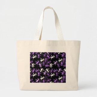Purple lizards pattern large tote bag
