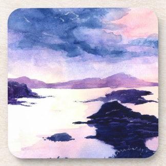 Purple Loch Lomond Watercolour Painted Coaster Set
