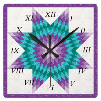 Purple Lone Star Quilt Design Square Wall Clock