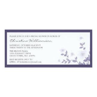 "Purple Long Floral Bridal Shower Invitations 4"" X 9.25"" Invitation Card"