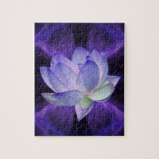 Purple Lotus and sacred geometry Jigsaw Puzzle