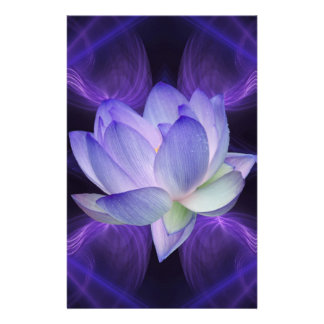 Purple Lotus and sacred geometry Stationery