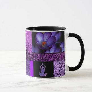 Purple Lotus & Crown Chakra Meditation Collage Mug