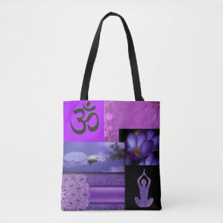 Purple Lotus & Crown Chakra Meditation Collage Tote Bag