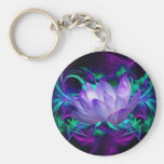 Purple lotus flower and its meaning basic round button key ring