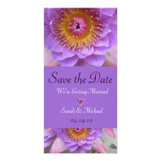 Purple Lotus Flower Wedding Announcement Photo Greeting Card