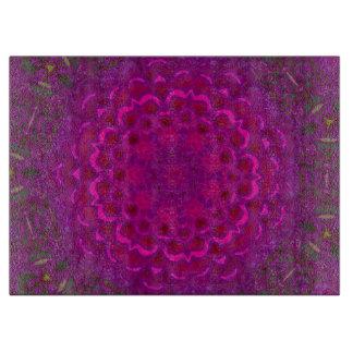 Purple Lotus Kaleidoscope Glass Cutting Board