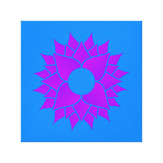 Purple Lotus on Blue Canvas Print