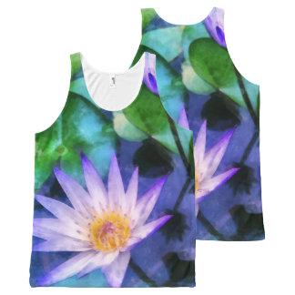 Purple Lotus Watercolor All-Over Print Singlet