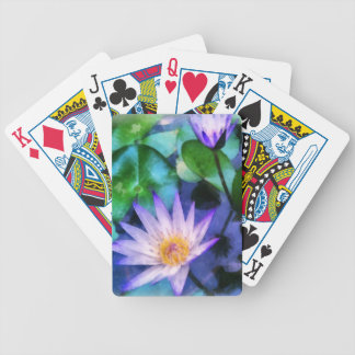 Purple Lotus Watercolor Bicycle Playing Cards