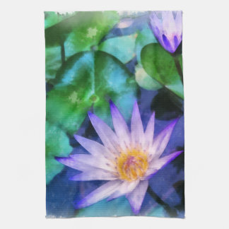 Purple Lotus Watercolor Tea Towel