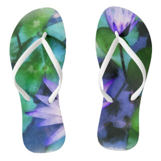 Purple Lotus Watercolor Thongs