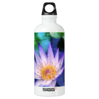 Purple Lotus Watercolor Water Bottle