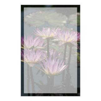 Purple Lotus Waterlilies Stationery