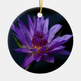 Purple Lotus Waterlily Ceramic Ornament