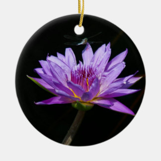 Purple Lotus Waterlily Dragonfly Ceramic Ornament