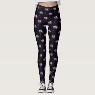 Purple Lotus Waterlily Dragonfly Leggings