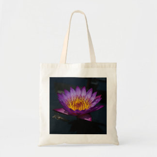 Purple Lotus Waterlily dragonfly nymph tote bag