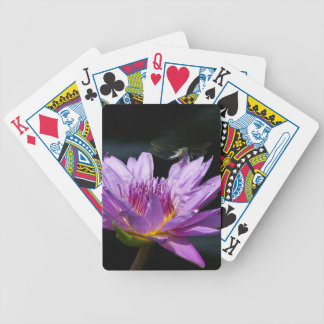 Purple Lotus Waterlily Dragonfly Playing Cards