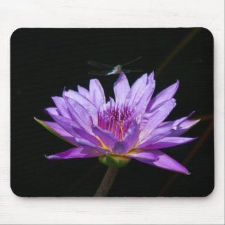 Purple Lotus Waterlily Dragonfly Playing Cards Mouse Pad