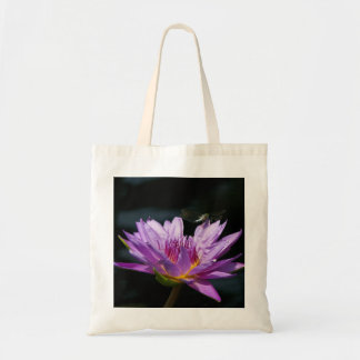 Purple Lotus Waterlily dragonfly tote bag