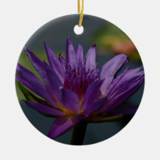 Purple Lotus Waterlily Flower Ceramic Ornament