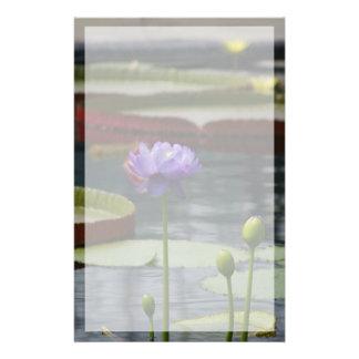Purple Lotus Waterlily Flower Stationery
