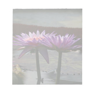 Purple Lotus Waterlily Flowers Notepad