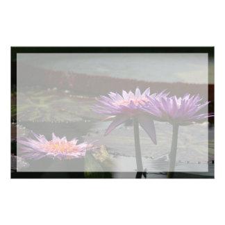Purple Lotus Waterlily Flowers Stationery