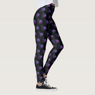 Purple Lotus Waterlily Leggings