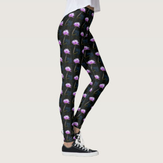 Purple Lotus Waterlily Leggings