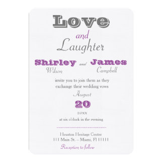 Purple Love and Laughter Wedding Invitation