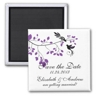 Purple Love Bird  Save The Date Announcements Square Magnet