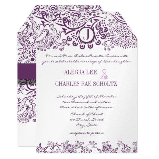 Purple Love Birds Damask Monogram Weddings Card